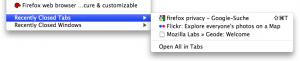 Wenn man ausversehen einen Tab oder Fenster schließt, kann man dieses in der neuen Firefox Version schnell wieder öffnen