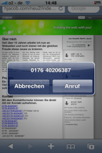 iPhone: A phone Number on a website is clicked