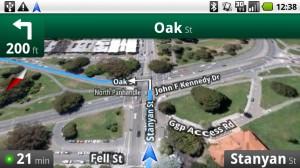 Google Navi: Die Satelliten-Ansicht im Querformat
