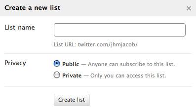 Twitter List: Neue Liste erstellen (Formular)