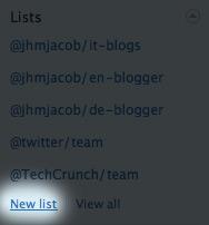 Twitter Listen: Neue Liste erstellen