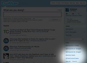 Twitter Listen: Externe Listen werden in der rechten Spalte angezeigt