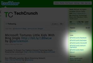 Twitter Lists: Listen erscheinen im rechten Rand (hier bei TechCrunch)